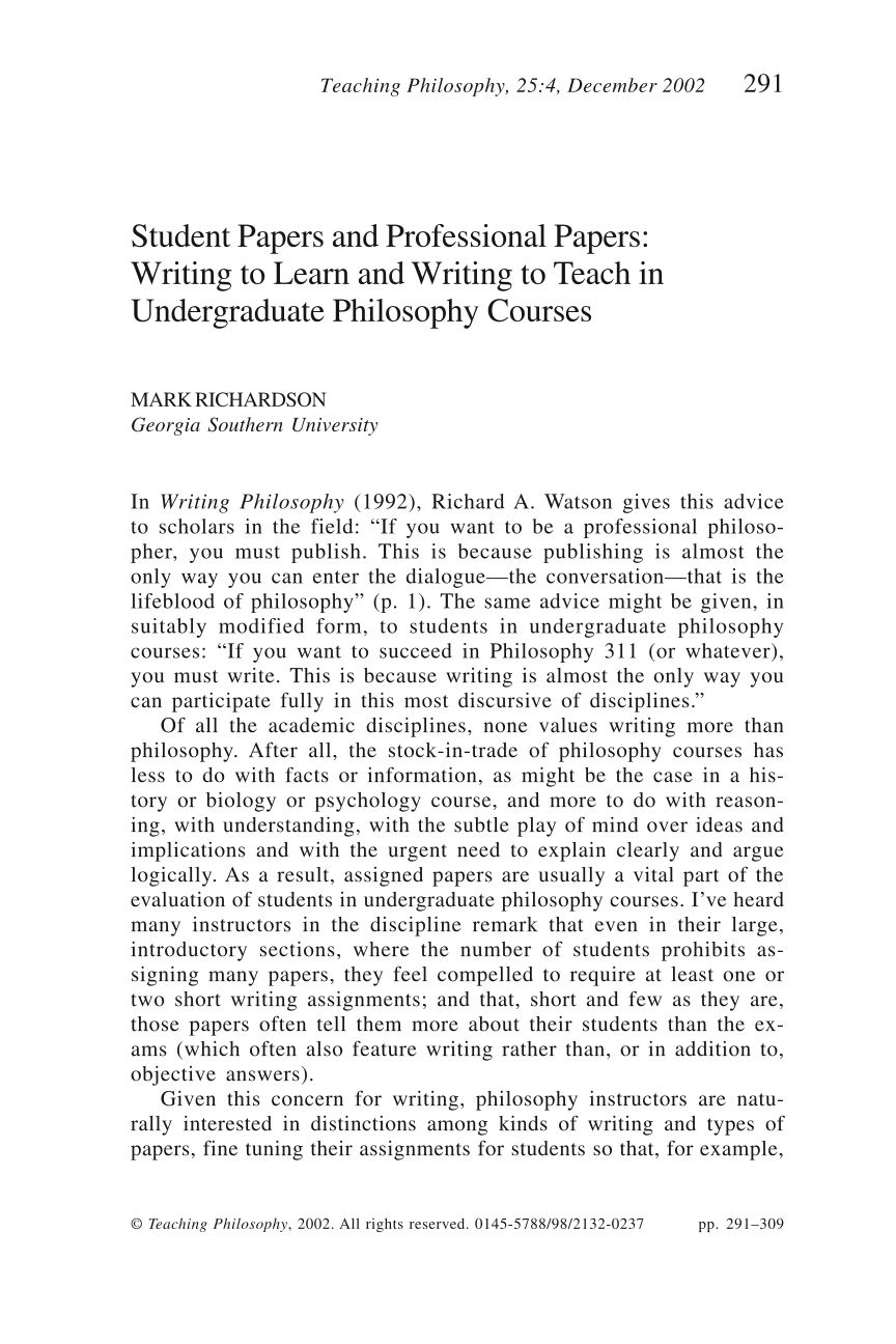 Philosophy of Teaching - Research Paper by Alikout