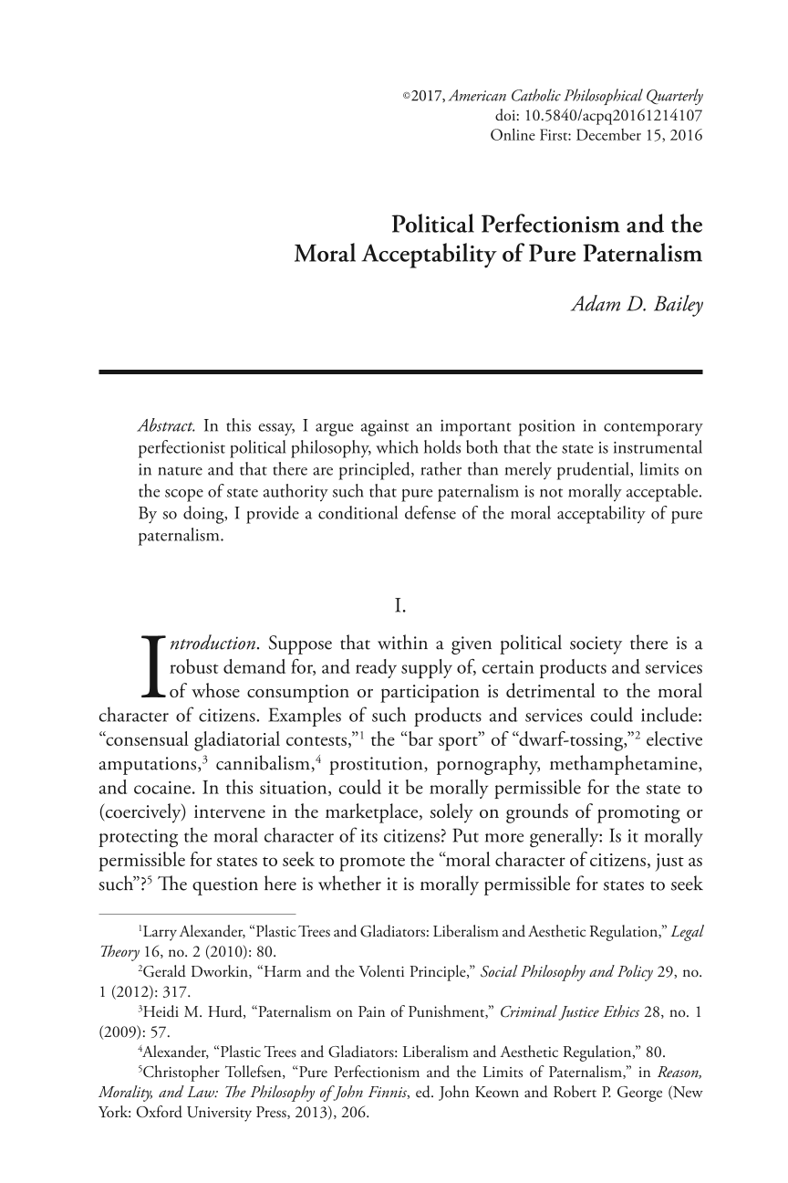 political perfectionism and the moral acceptability of pure document is being loaded