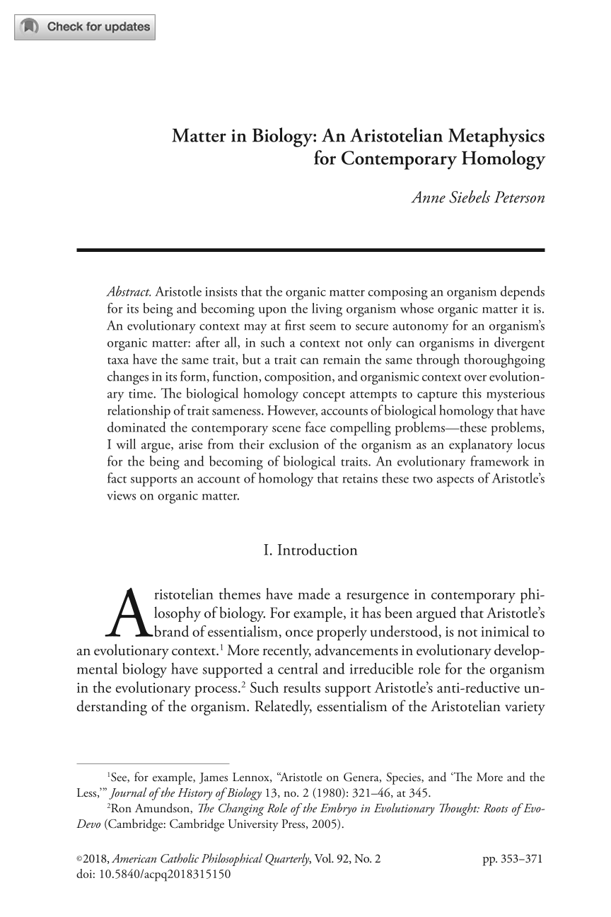 Matter in Biology: An Aristotelian Metaphysics for Contemporary