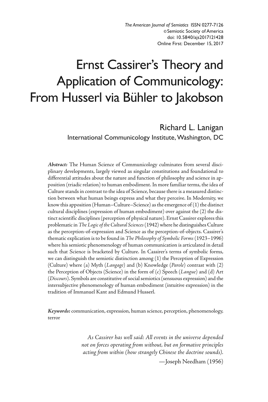 Ernst Cassirers Theory And Application Of Communicology From