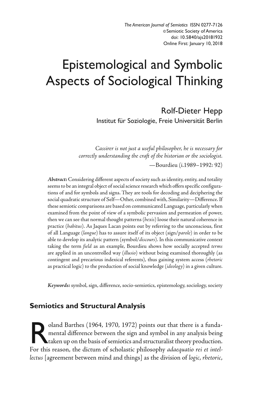 Epistemological And Symbolic Aspects Of Sociological Thinking Rolf