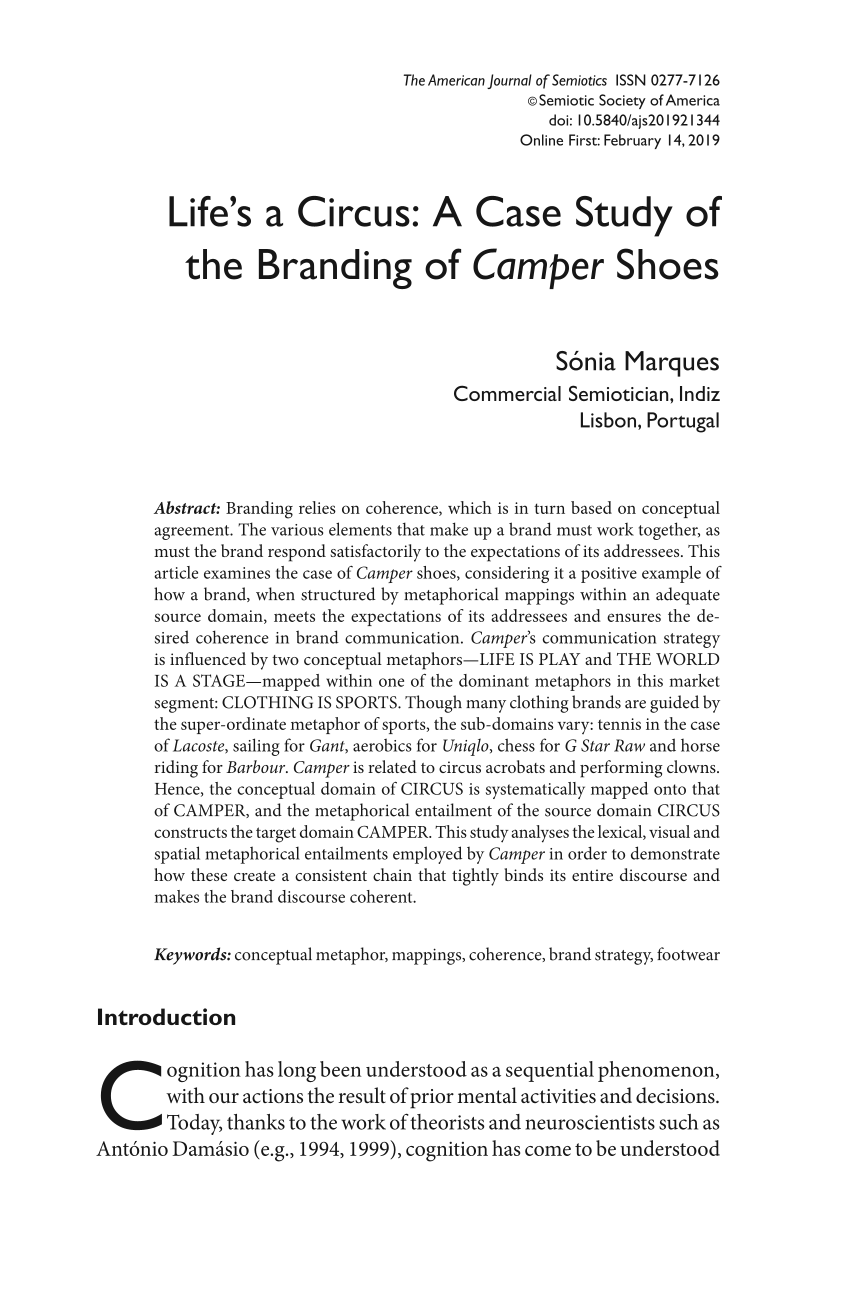 Life's a Circus: A Case Study of the Branding of Camper Shoes