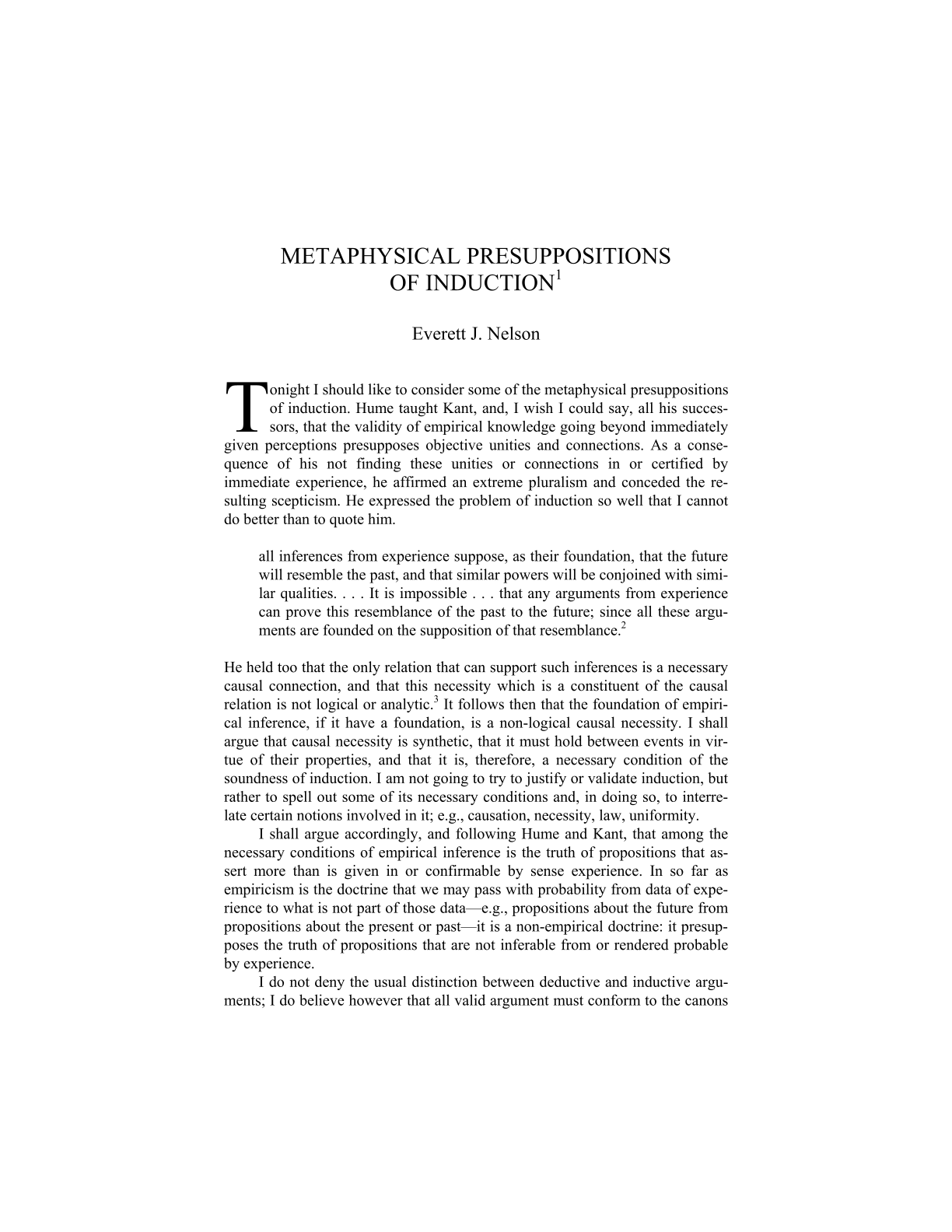 Metaphysical Presuppositions of Induction - Everett J  Nelson - The