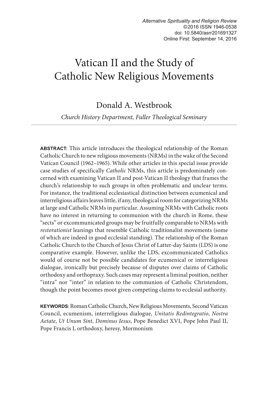 Vatican II and the Study of Catholic New Religious Movements