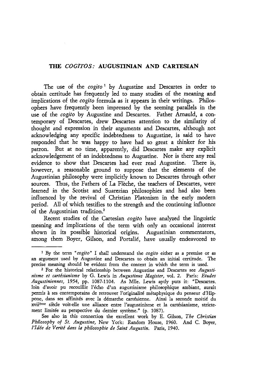 The Cogitos: Augustinian and Cartesian - John A  Mourant