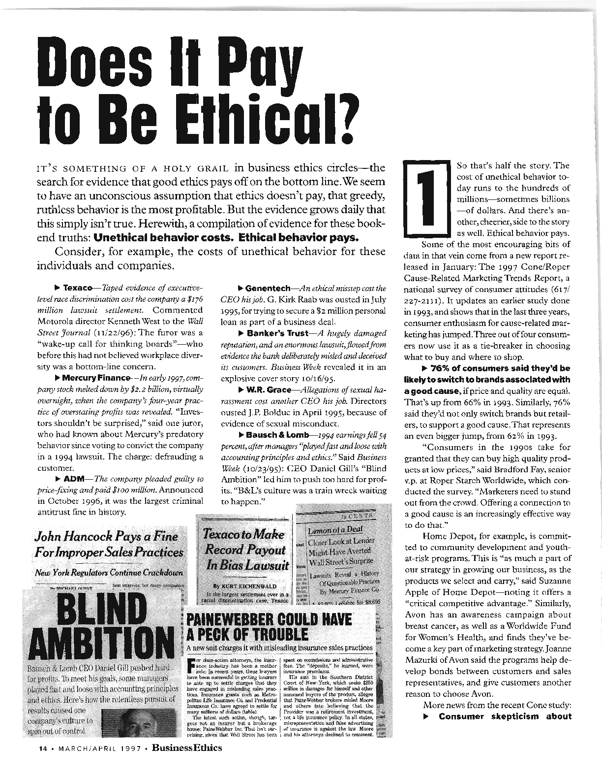 Does It Pay To Be Ethical? - - Business Ethics: The Magazine