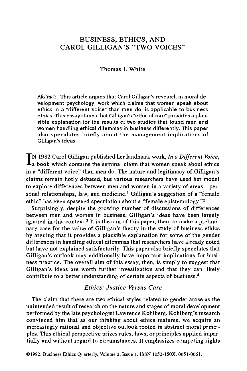 business ethics essays business ethics essay ethics paper business ethics and carol gilligan s two voices thomas i