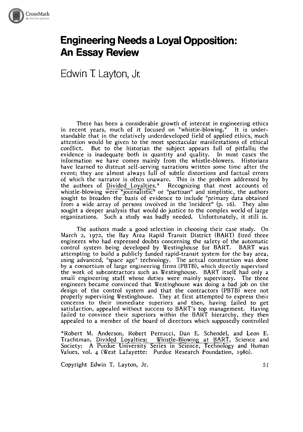 engineering needs a loyal opposition an essay review edwin t document is being loaded
