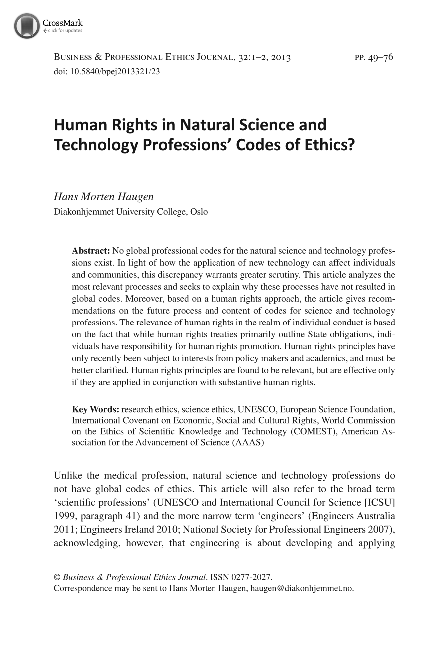Human Rights in Natural Science and Technology Professions' Codes of