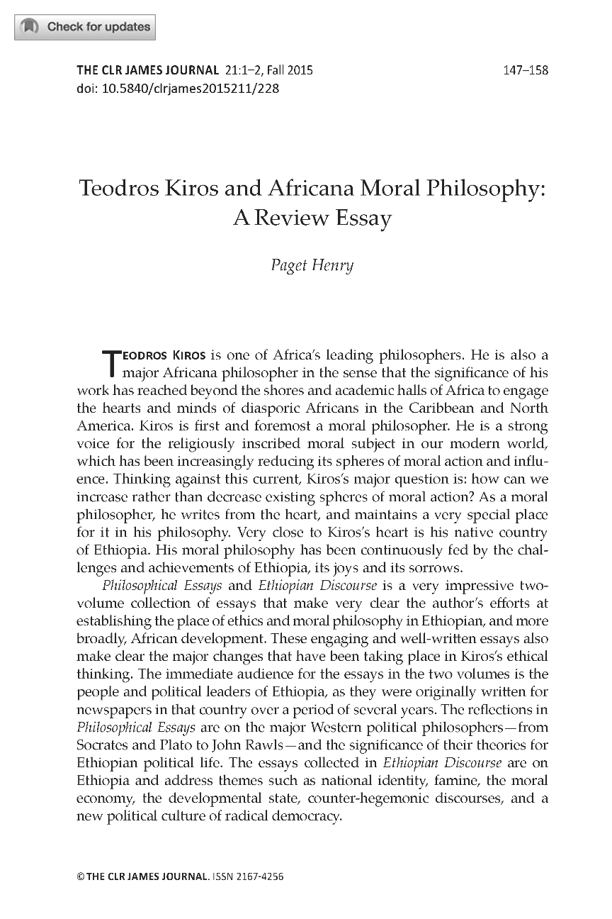 teodros kiros and africana moral philosophy a review essay document is being loaded