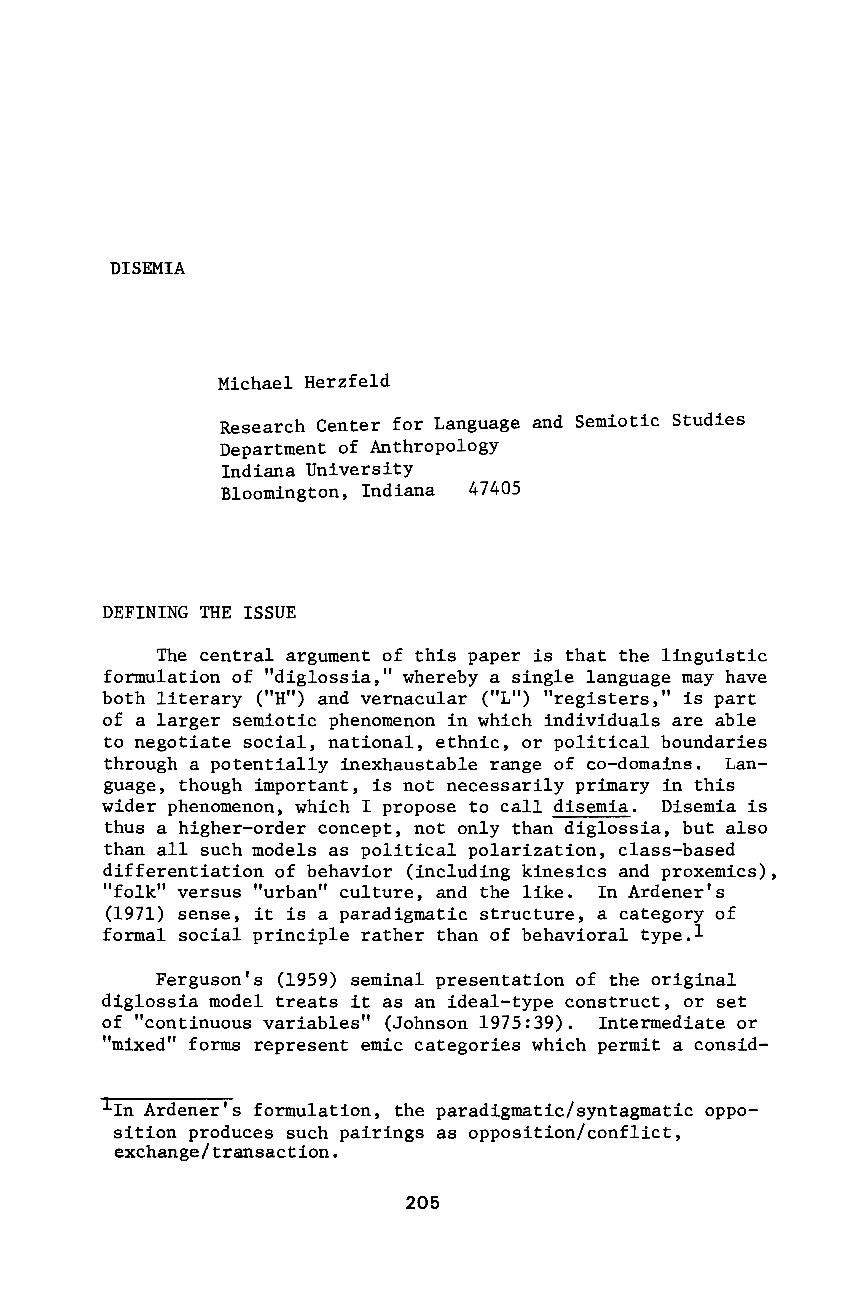 Disemia - Michael Herzfeld - Semiotics (Philosophy