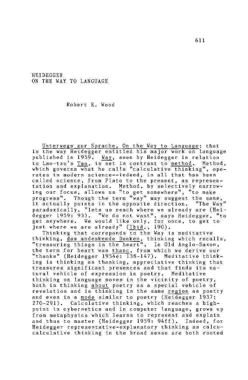 Heidegger on the Way to Language - Robert E  Wood