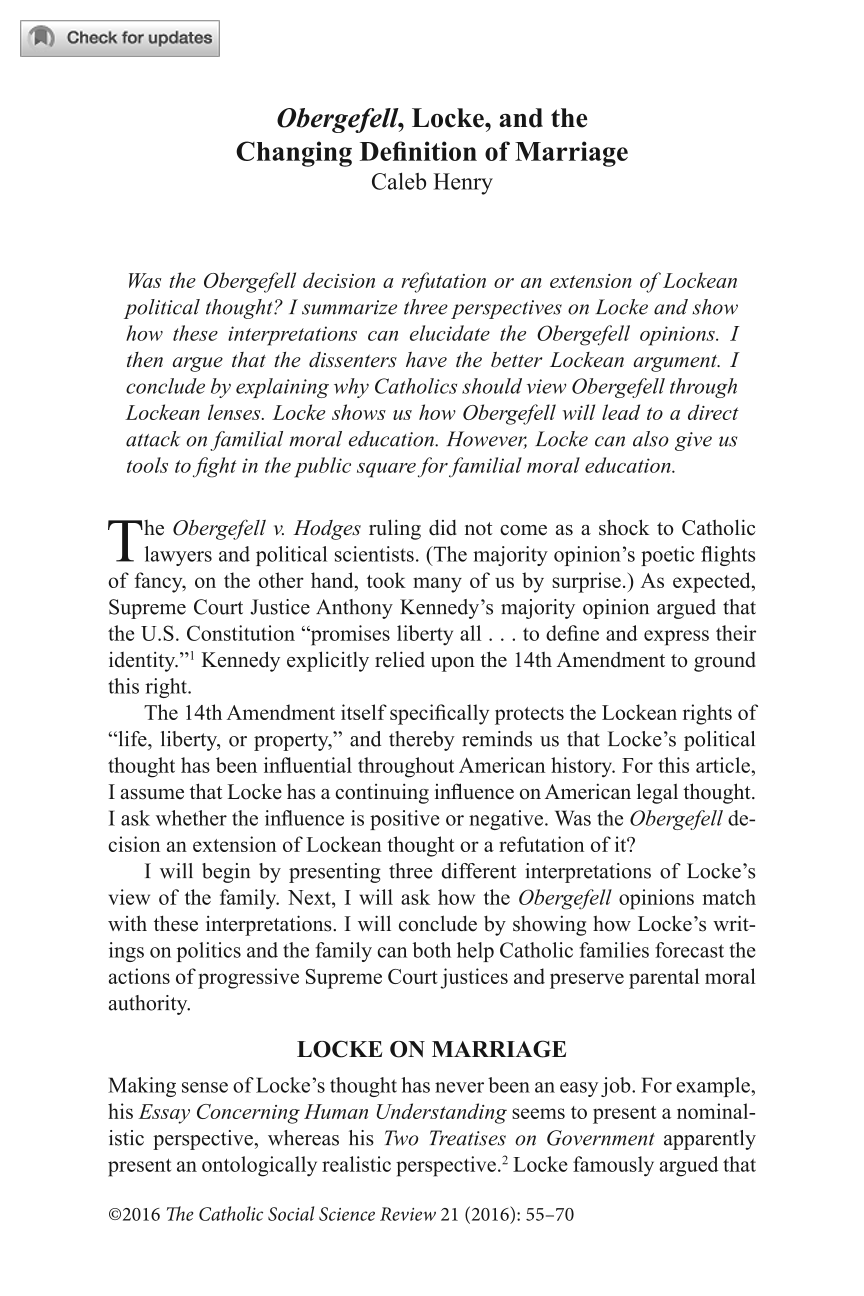 obergefell locke and the changing definition of marriage caleb document is being loaded