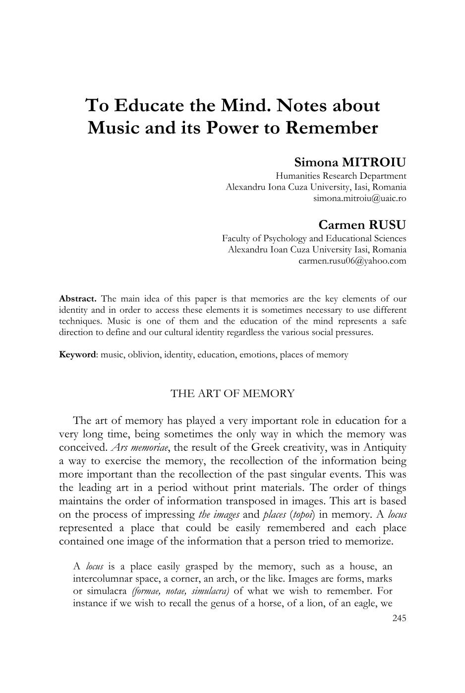 To Educate the Mind  Notes about Music and its Power to