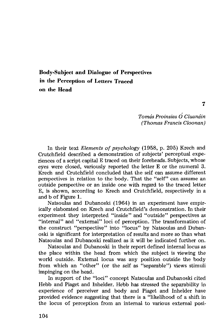 Body-Subject and Dialogue of Perspectives in the Perception of