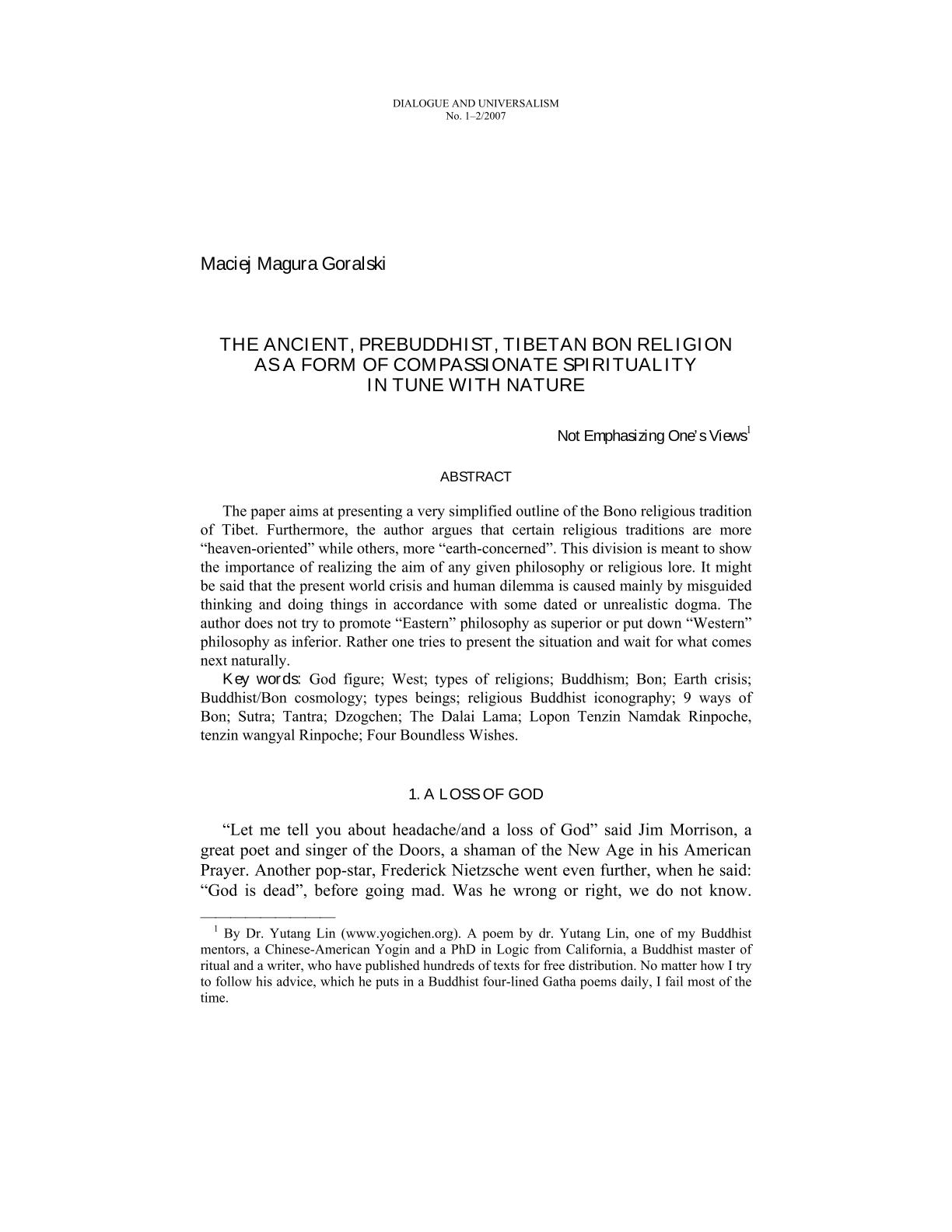 The Ancient, Prebuddhist, Tibetan Bon Religion as a Form of