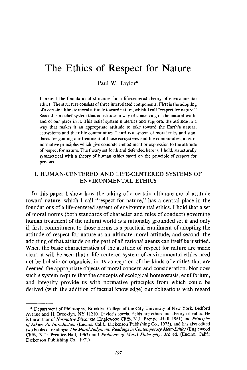 The Ethics of Respect for Nature Essay Sample