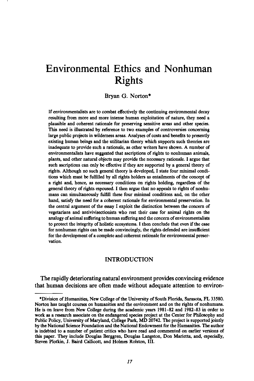 environmental ethics and nonhuman rights bryan g norton document is being loaded