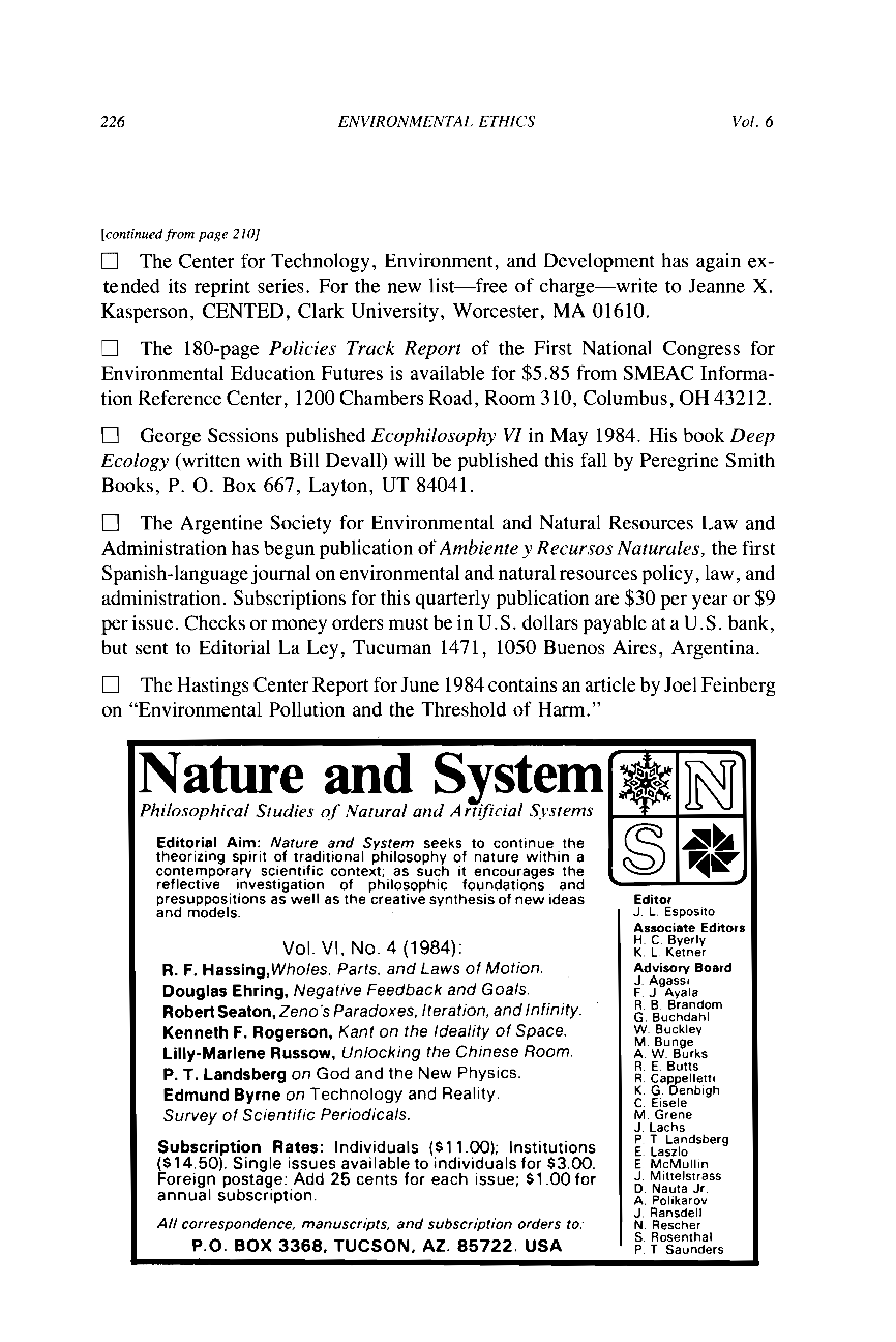 NEWS AND NOTES (3) - - Environmental Ethics (Philosophy