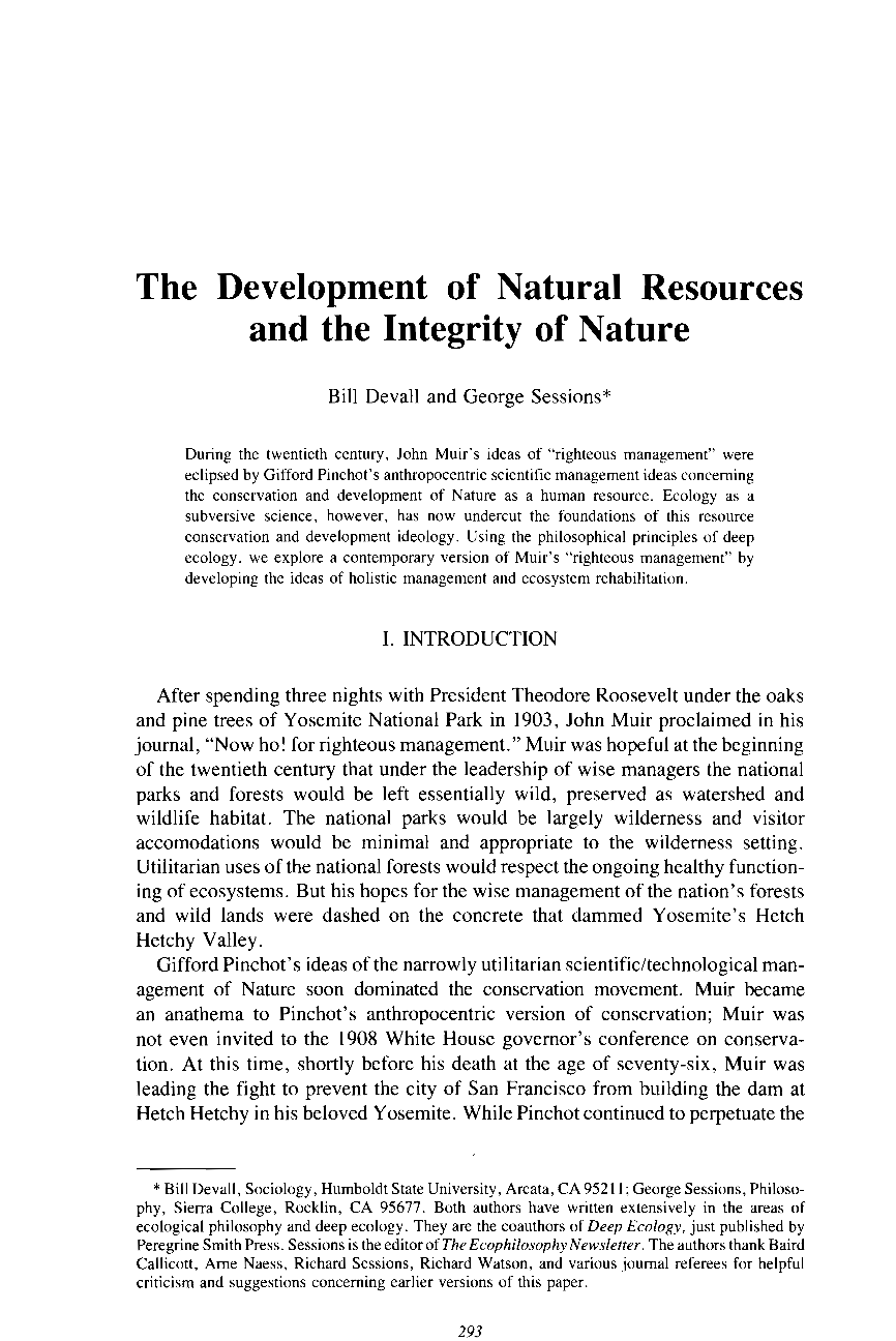 The Development of Nature Resources and the Integrity of