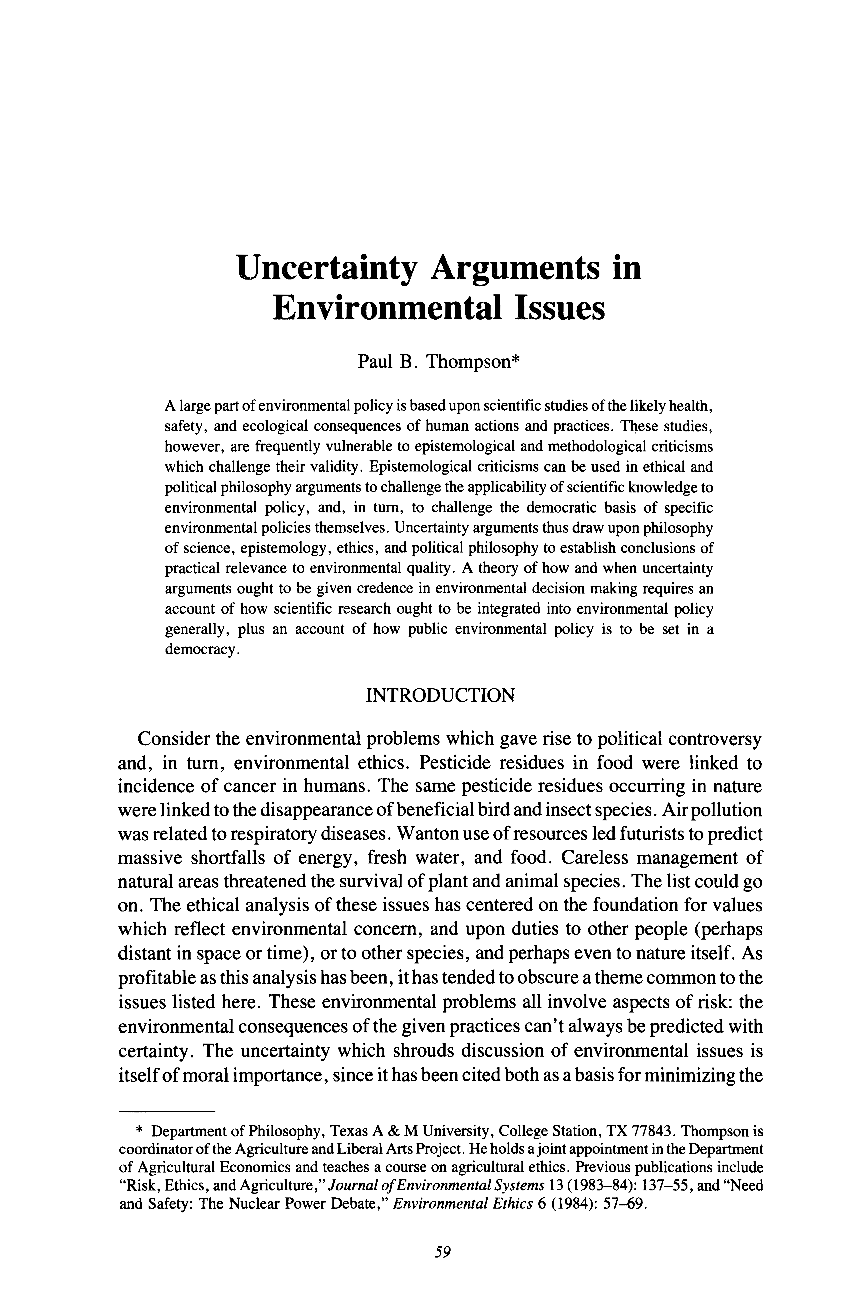 Uncertainty Arguments in Environmental Issues - Paul B  Thompson