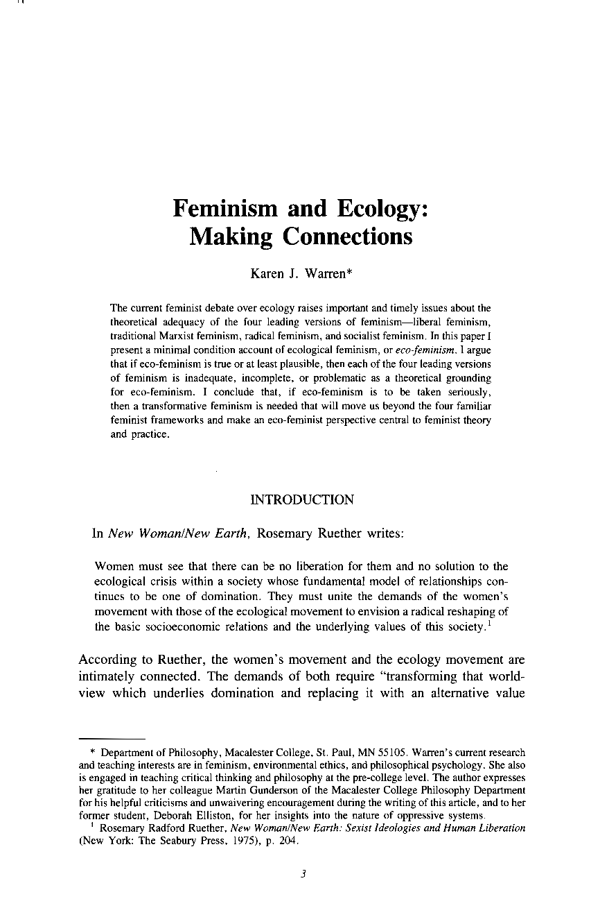 feminism and ecology making connections karen j warren  document is being loaded