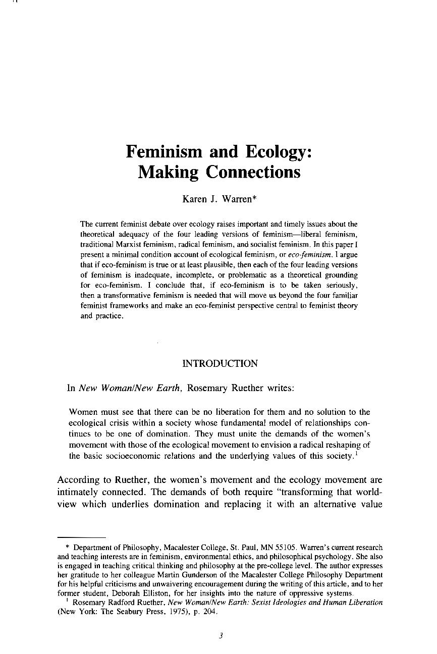 Feminist ethics essay