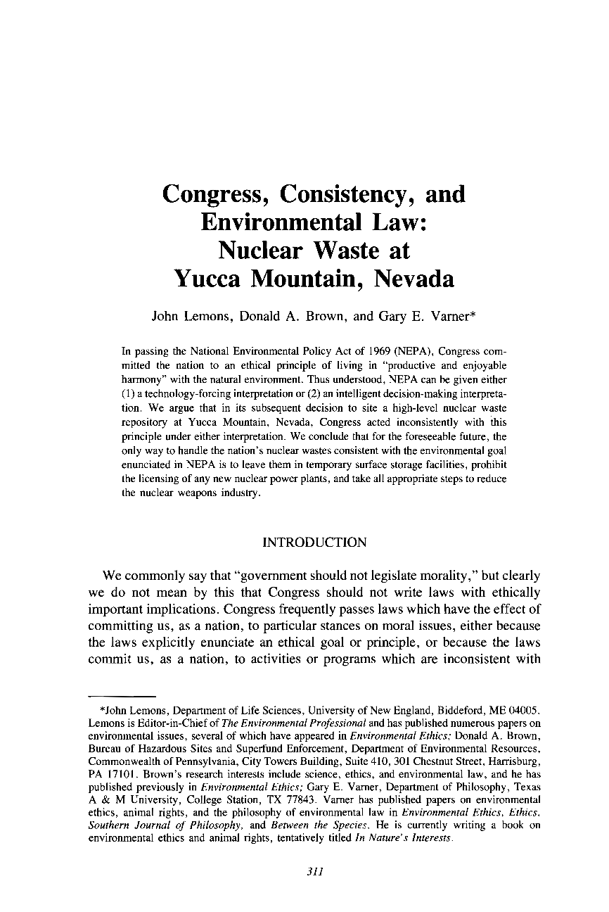 Congress, Consistency, and Environmental Law - John Lemons