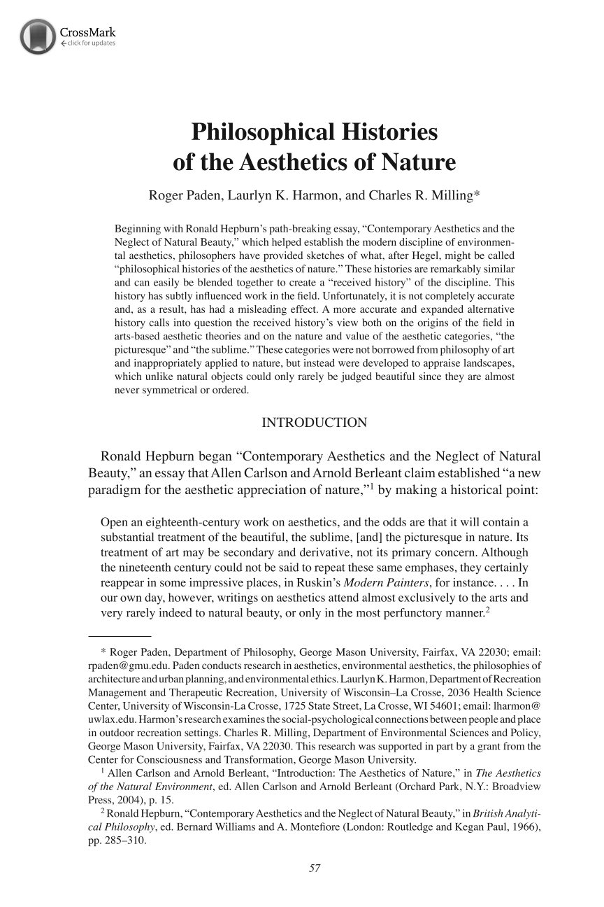 philosophical histories of the aesthetics of nature roger paden document is being loaded