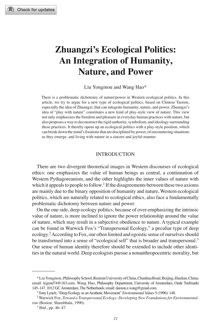 Zhuangzi's Ecological Politics: An Integration of Humanity, Nature