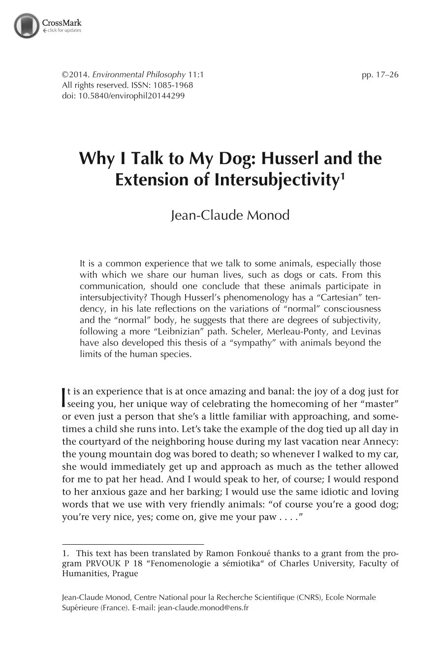 why i talk to my dog husserl and the extension of  document is being loaded