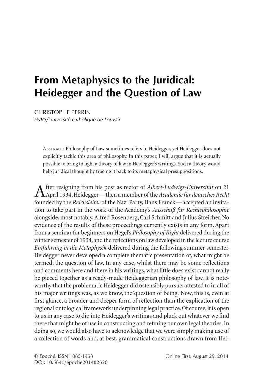 From Metaphysics to the Juridical: Heidegger and the Question of Law