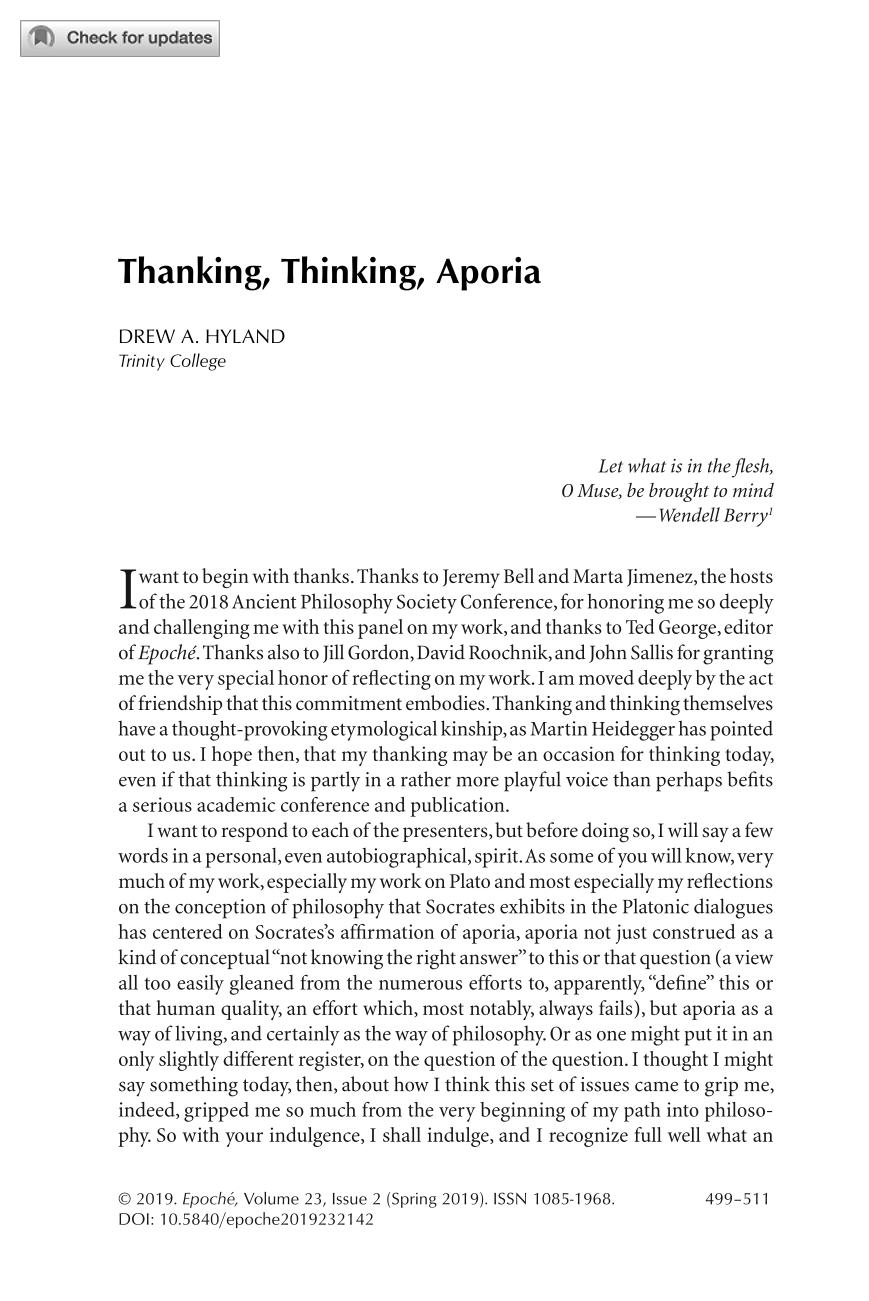 Thanking, Thinking, Aporia - Drew A  Hyland - Epoché: A