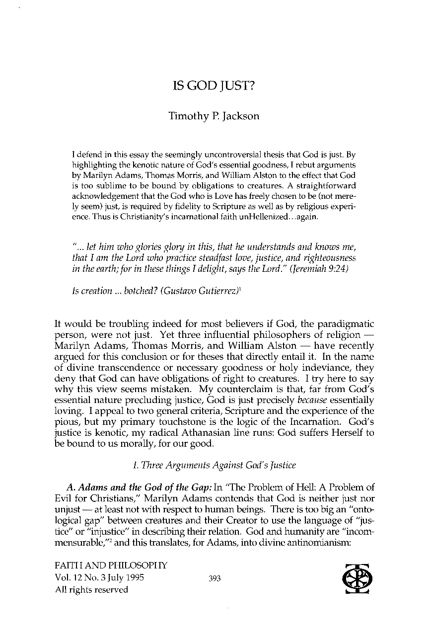 Is god just timothy p jackson faith and philosophy philosophy document is being loaded altavistaventures Images