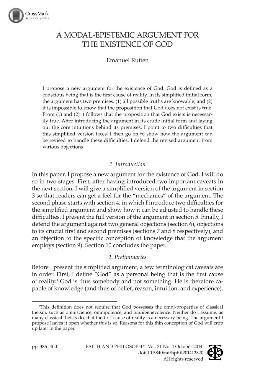 A Modal-Epistemic Argument for the Existence of God - Emanuel Rutten