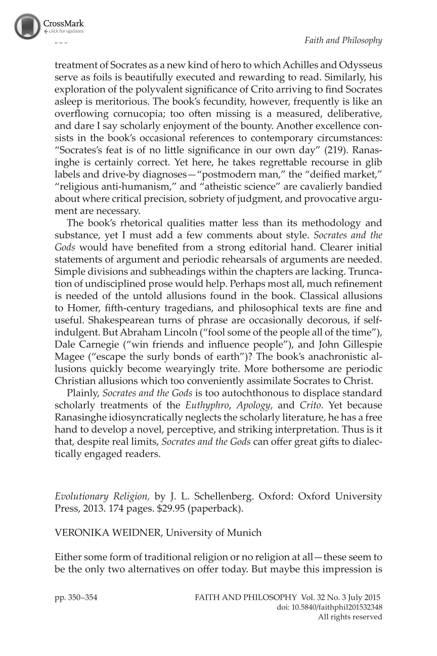 Evolutionary Religion, by J  L  Schellenberg - Veronika