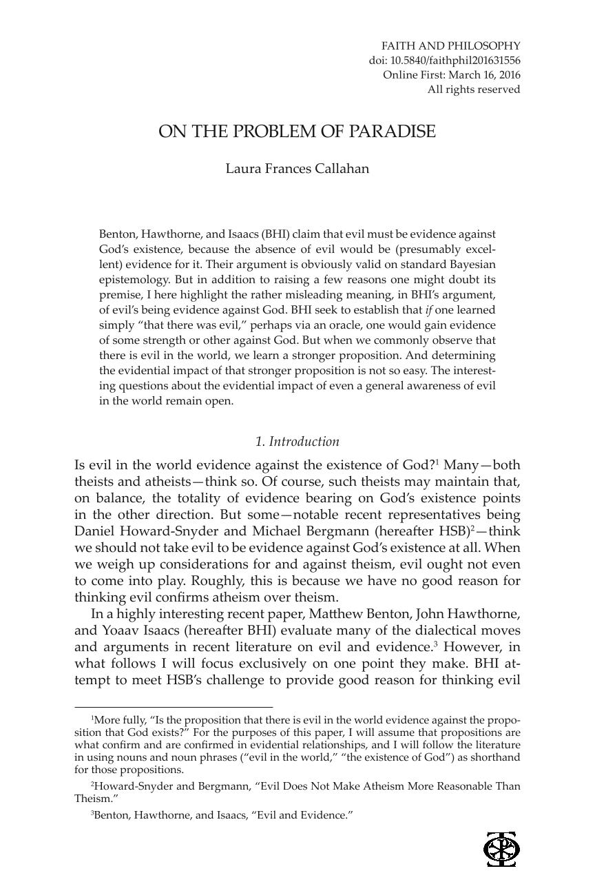 On the Problem of Paradise - Laura Frances Callahan - Faith