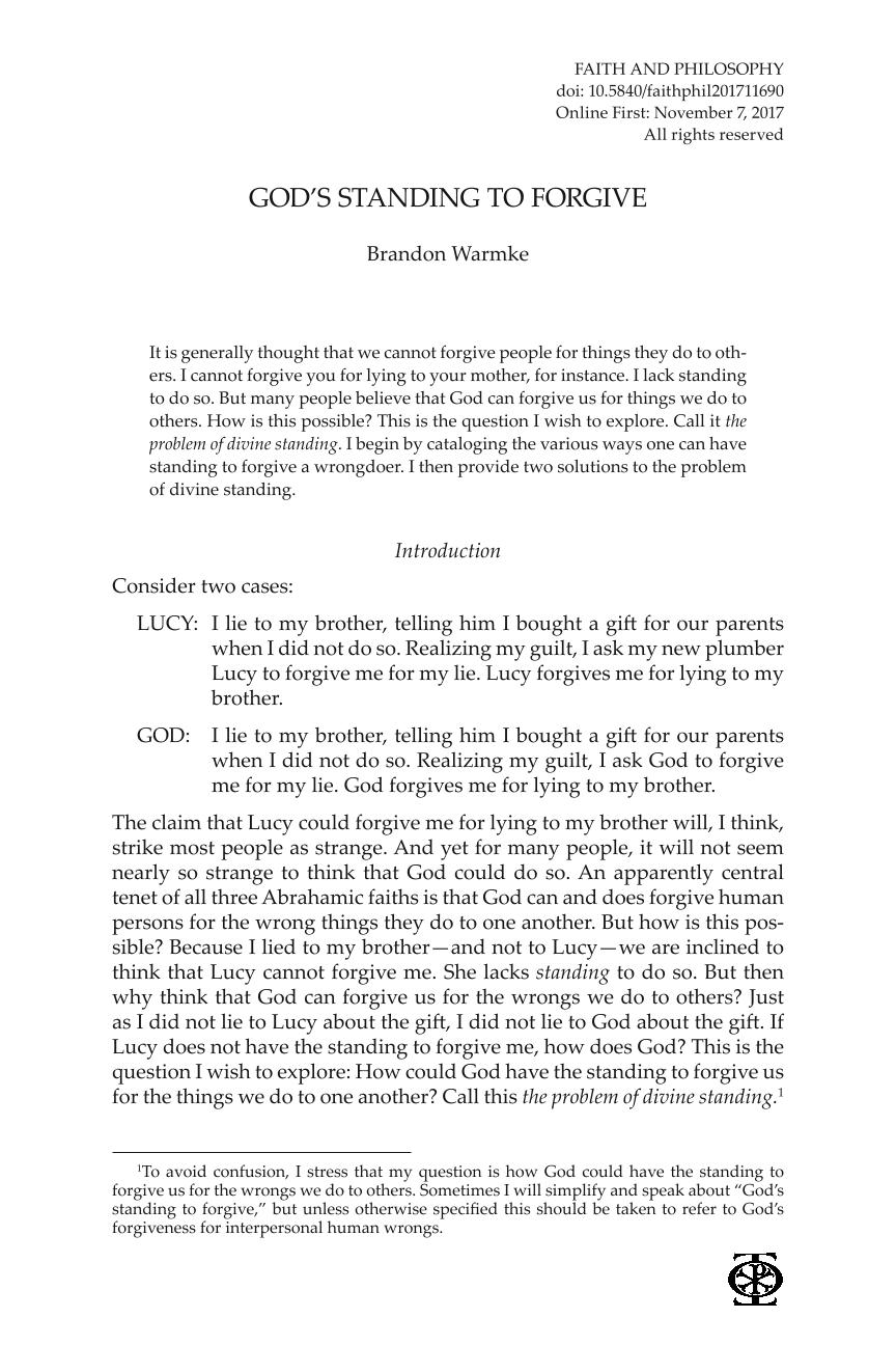 God's Standing to Forgive - Brandon Warmke - Faith and