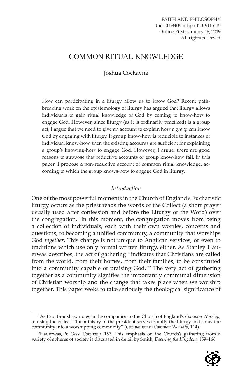 Common Ritual Knowledge - Joshua Cockayne - Faith and