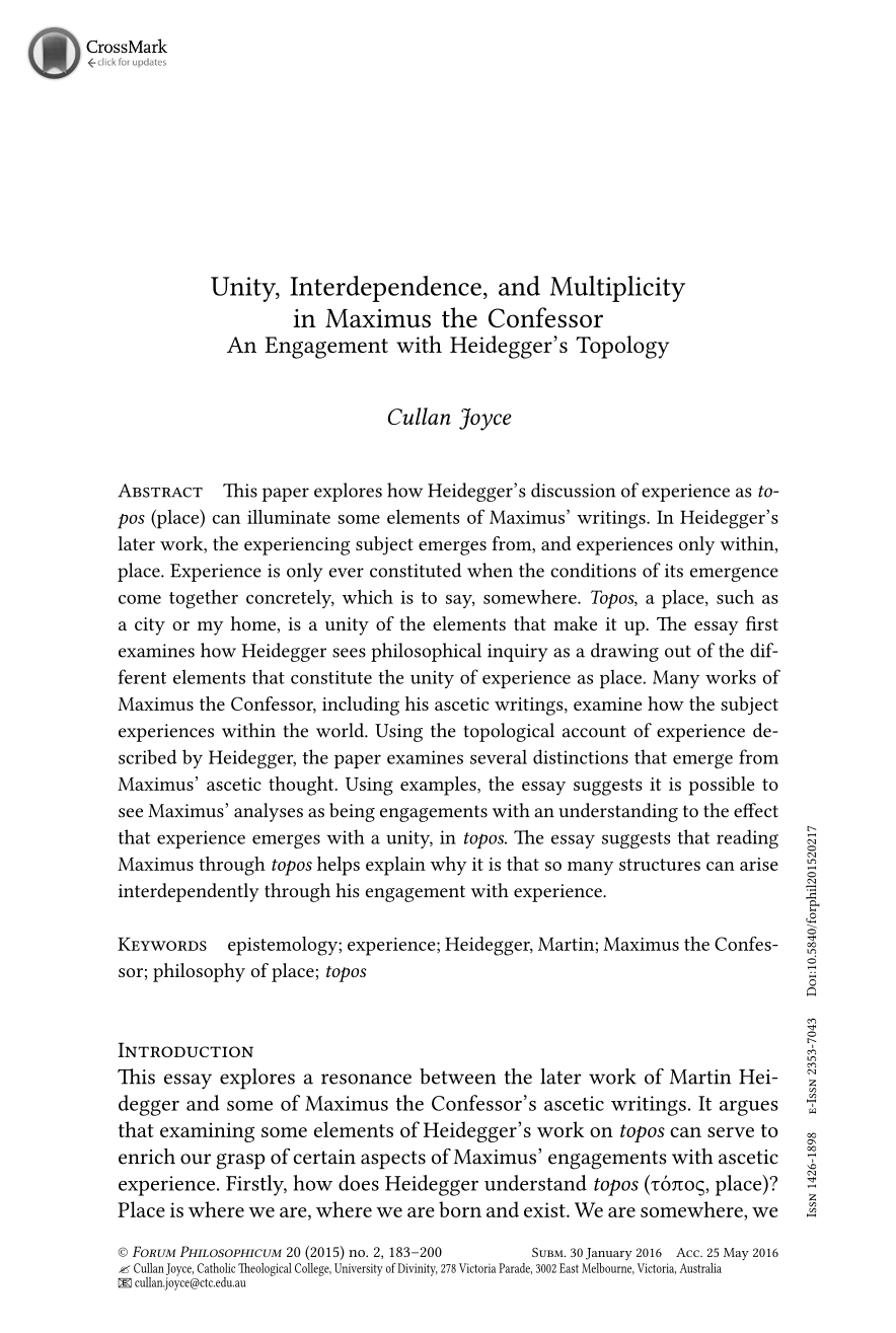 unity interdependence and multiplicity in maximus the confessor document is being loaded