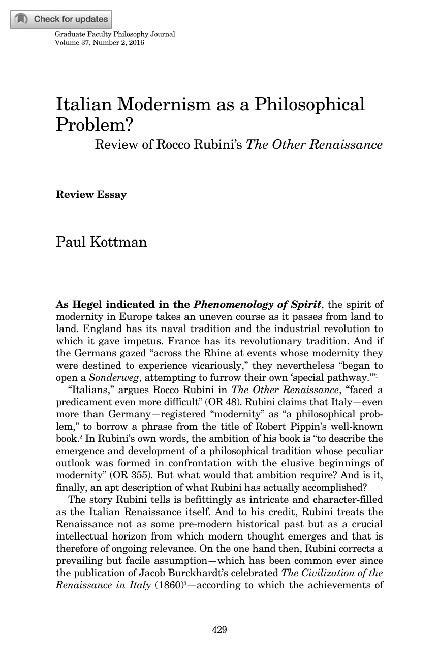 italian modernism as a philosophical problem review of rocco document is being loaded
