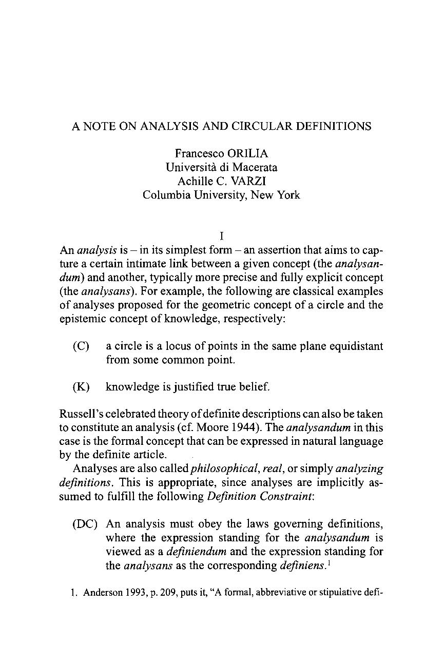 A Note on Analysis and Circular Definitions - Francesco Orilia ... 7da7e1f1284