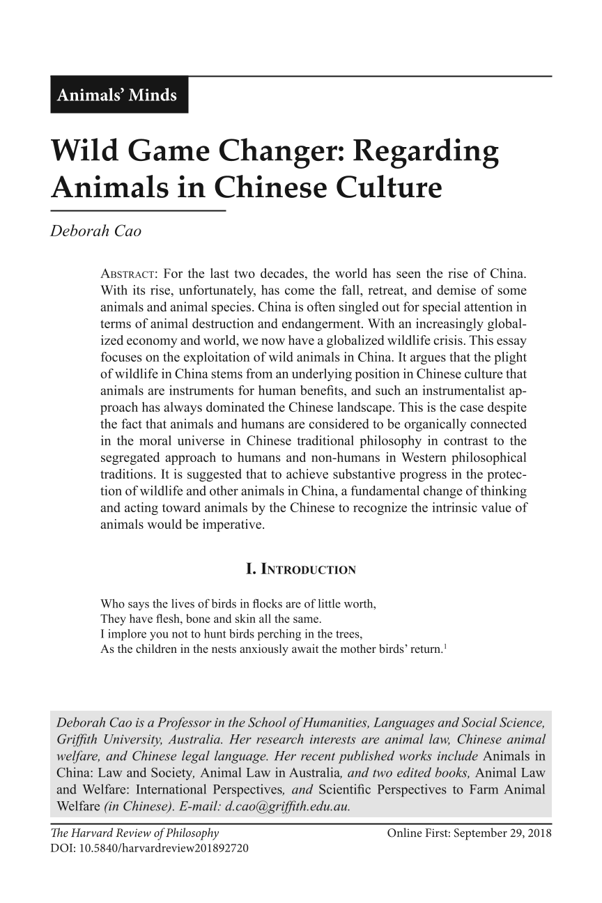Wild Game Changer: Regarding Animals in Chinese Culture