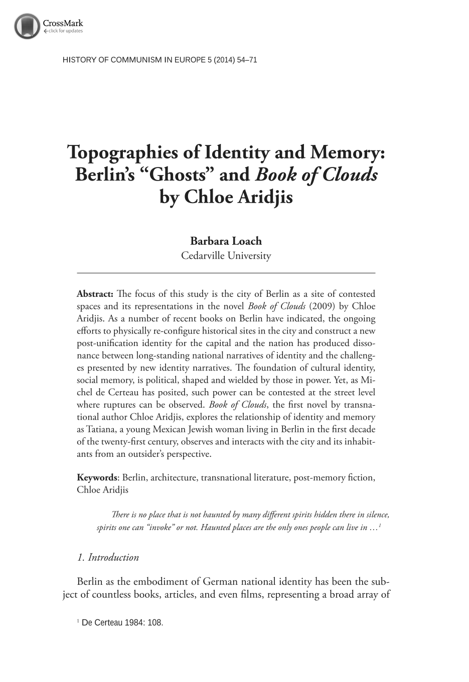 """Topographies of Identity and Memory: Berlin's """"Ghosts"""" and """"Book ..."""