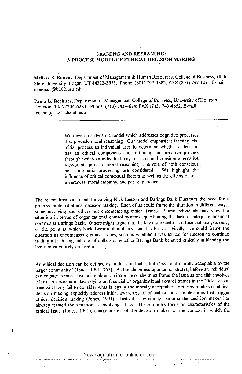 Framing and Reframing: A Process Model of Ethical Decision