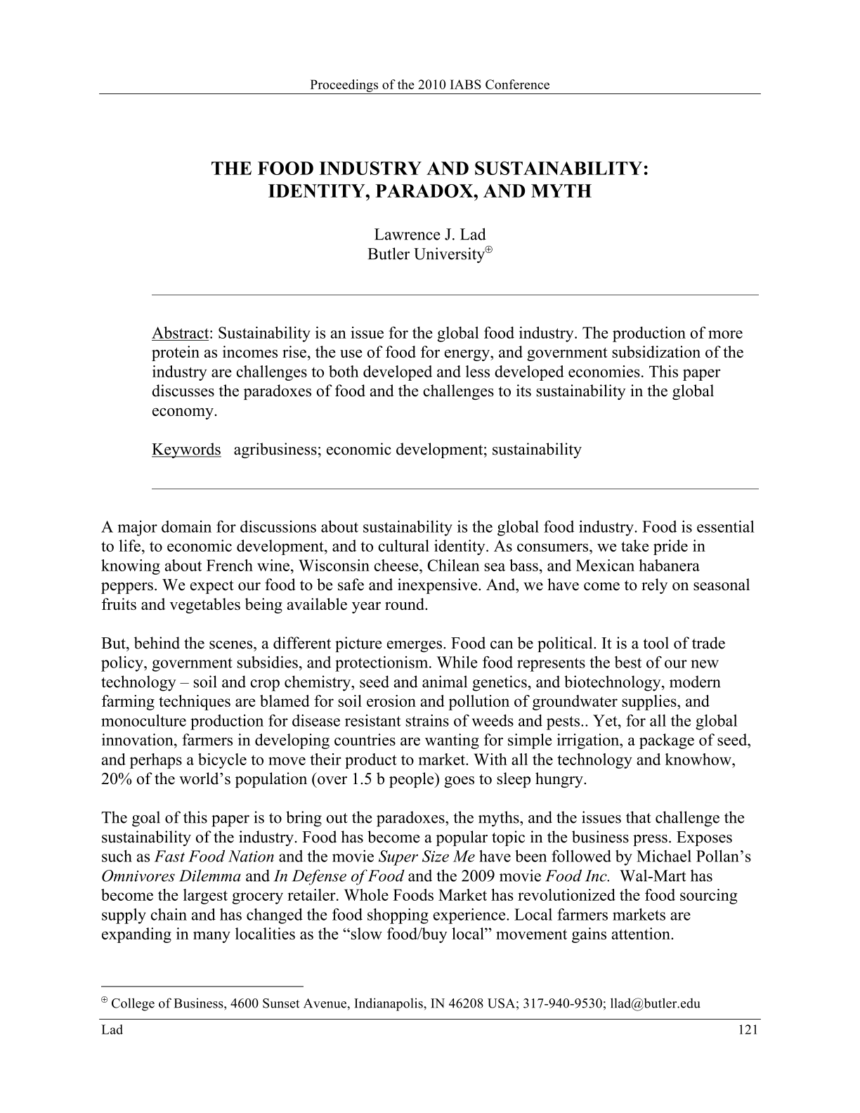 The Food Industry and Sustainability: Identity, Paradox, and