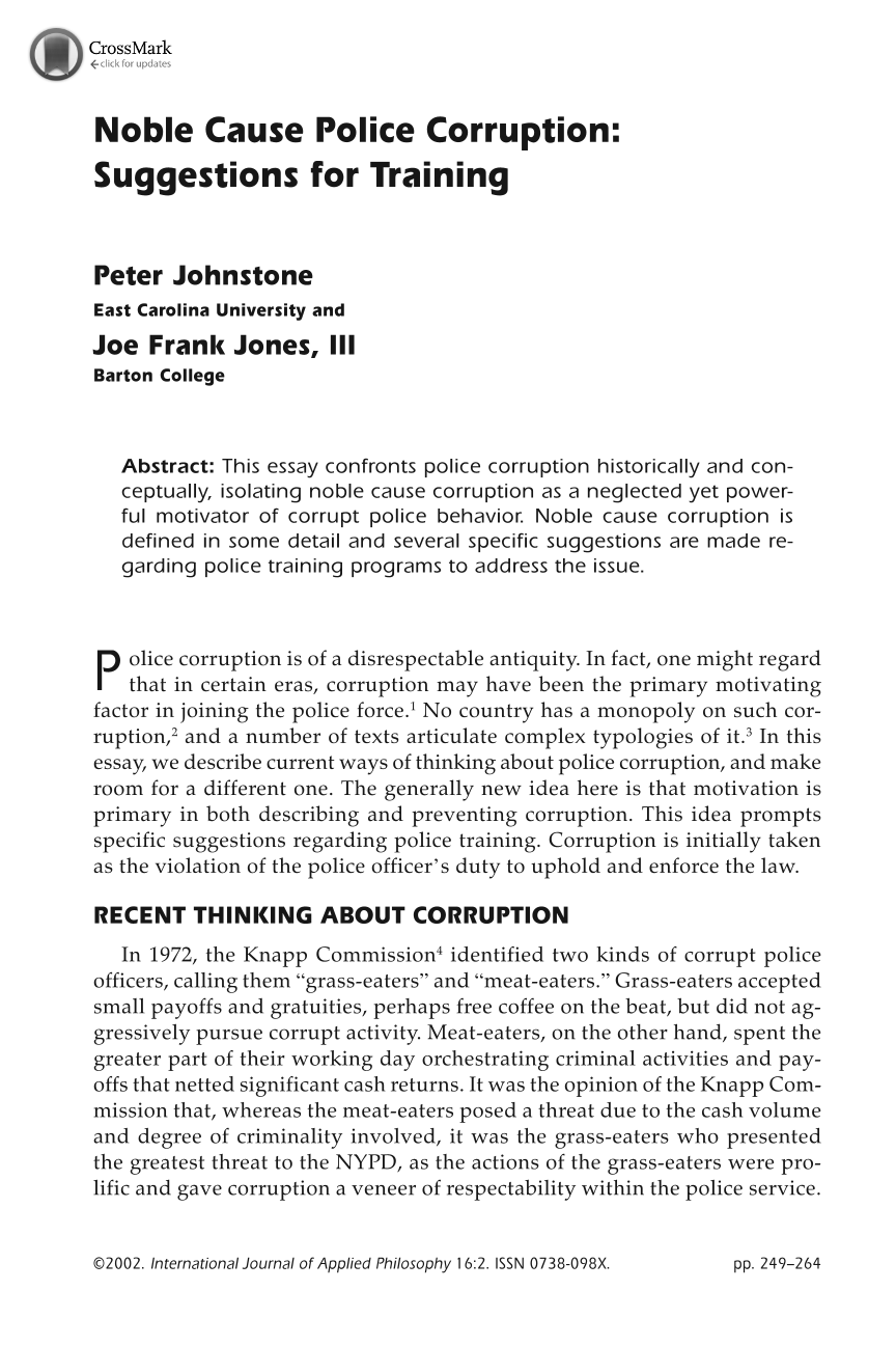 Essay on police corruption