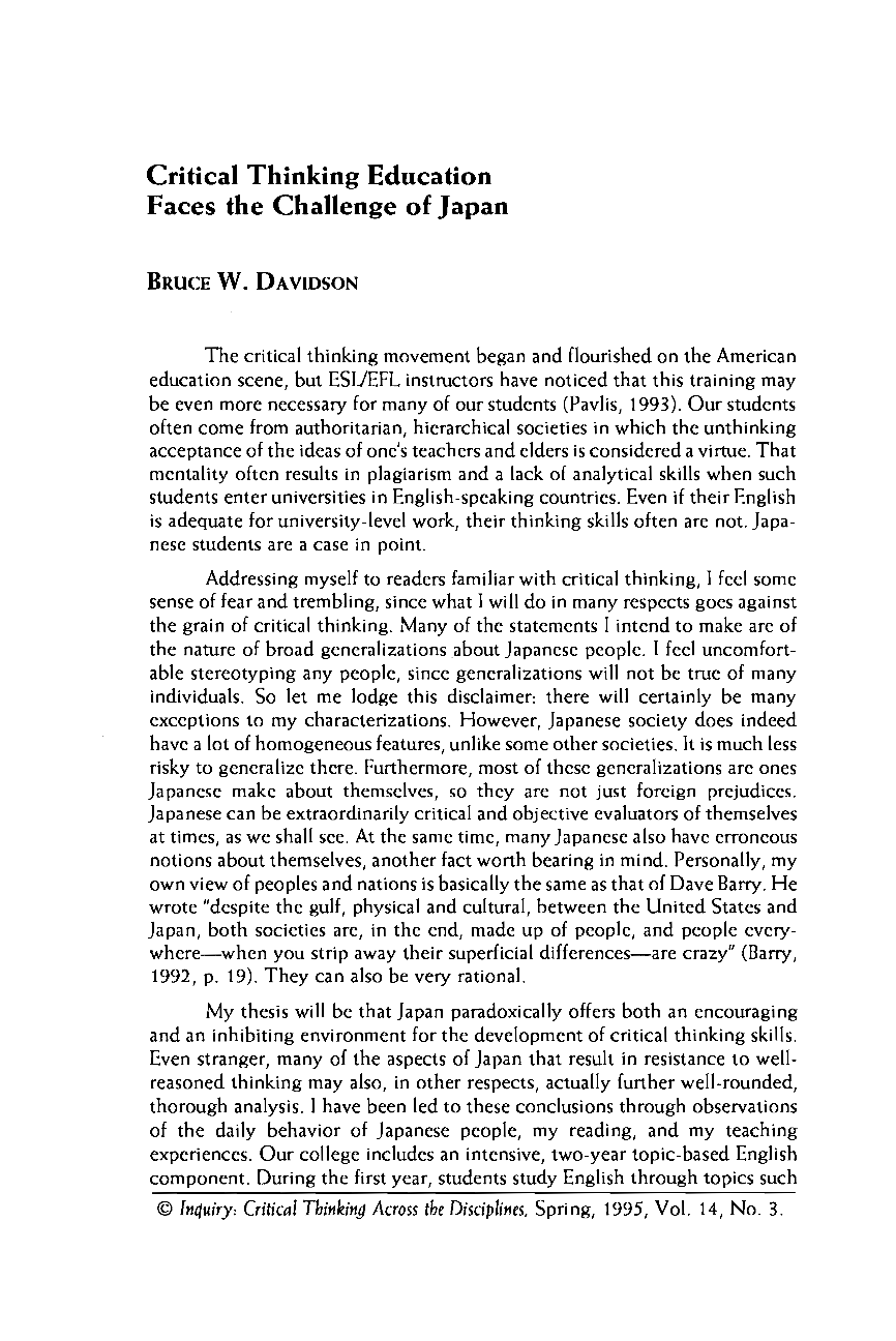 articles on critical thinking in education Education, v124 n3 p461 spr 2004 critical thinking is a pervasive academic literature term that is seldom clearly or comprehensively defined.