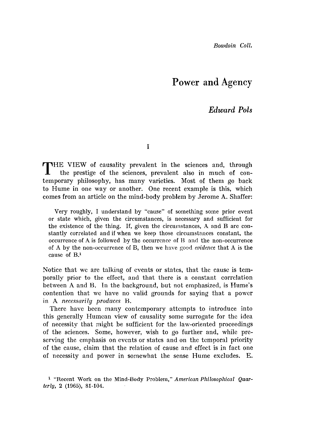 power and agency edward pols international philosophical document is being loaded