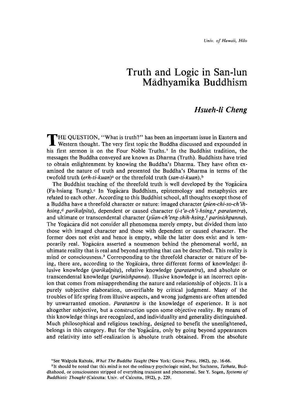 Truth and Logic in San-lun Mādhyamika Buddhism - Hsueh-li